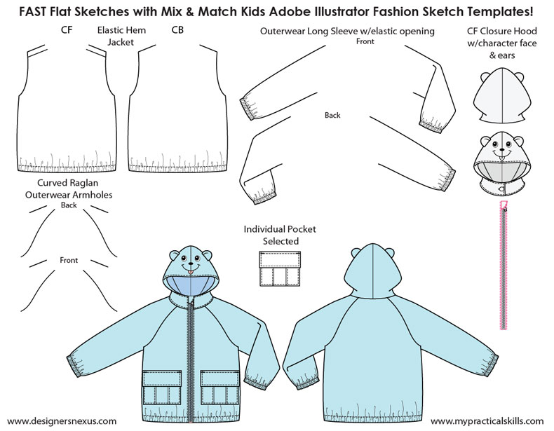 Kids Illustrator Flat Fashion Sketch Templates - My Practical Skills ...