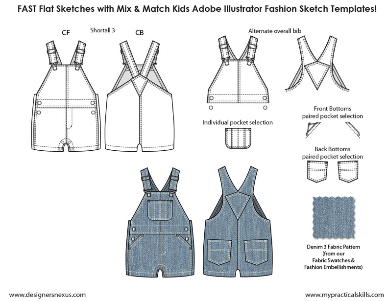 kids illustrator flat fashion sketch templates my practical skills